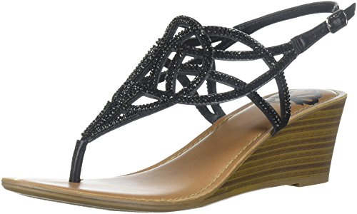 Fergalicious Women's Charity Wedge Sandal, Black, 8 M US (Womens Sandals Wedge)