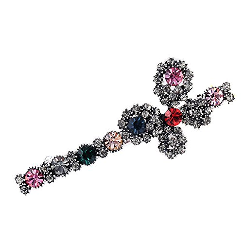- YuYe Retro Flower Rhinestone Inlay Alloy Women Hairpin Hair Clip Headwear Accessory - Multicolor Flower