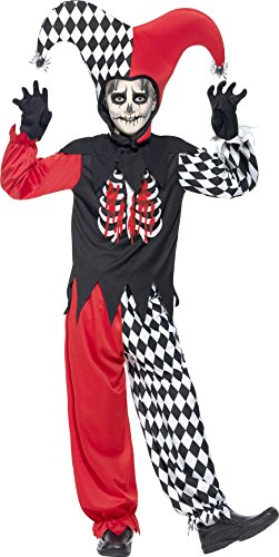 Princess Teen Devil Costumes (Smiffy's Tween Boy's Blood Curdling Court Jester, Top, Trousers, Hat and Gloves, Serious Fun, Color: Red, Black and White, Ages 12+,)