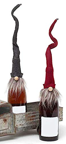 Gnome Wine Champagne Bottle Topper Hostess Christmas Holiday Gifts Favors Burgundy & Grey (Set of 2-18