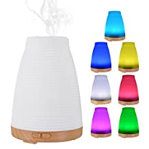 Aroma Air Humidifier, ELEGIANT 100ML Mini Multifunction Ultrasonic Aromatherapy Fragrance Diffuser Oil Diffuser Spray Dust + Night Light with 7 LED Color for Bedroom Office Conference Spa Yoga etc Log stripes
