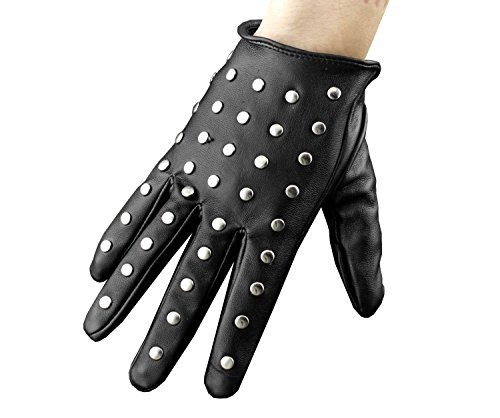 Ladie Women's Stud Studded Punk Biker Fashion Leather Gloves