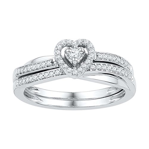 25ct-10K-White-Gold-Round-Cut-White-Diamond-Heart-Shaped-Bridal-Engagement-Ring-Set
