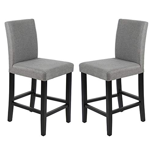 (GOTMINSI Classic 24 Inches Counter Height Stools Upholstered Bar Stools with Solid Wood Legs and Grey Fabric, Set of 2 (Grey))