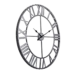 Utopia Alley Roman Rivet Edge Industrial Wall Clock, Pewter