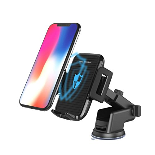 Kanzd New Portable Qi Wireless Car Charger Magnetic Mount Holder For Samsung S9 Note 8 iPhone 8 / X (Black)