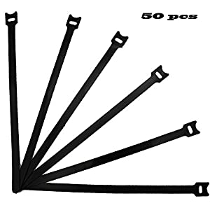 12 inch Reusable Cable Ties Microfiber Cloth Hook and Loop Cable Straps Ultra Thin Network Wire Management Organizer/Black-50 pcs