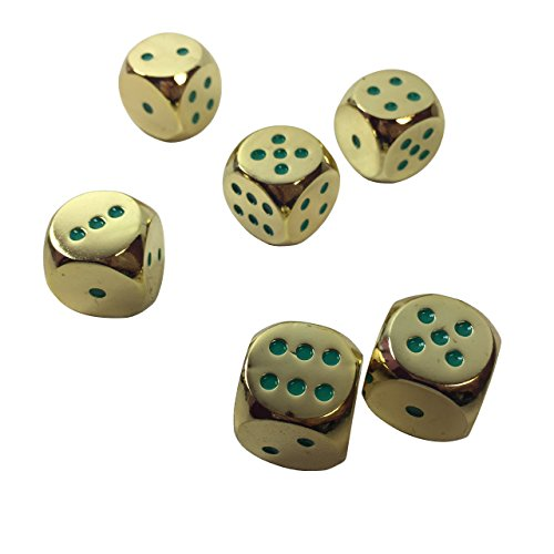 Set of 6 Solid Zinc Alloy Metal Dice (16mm) D6 (gold color with green pips)