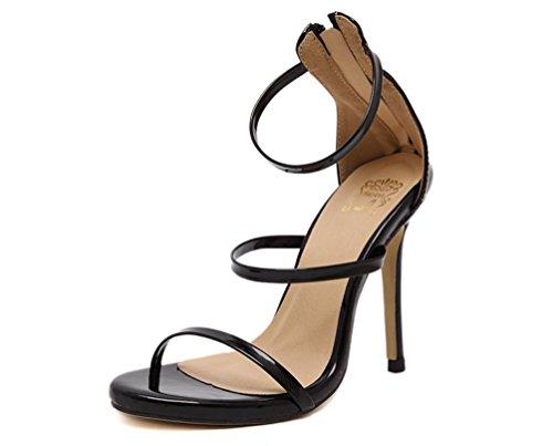 YCMDM FEMME Chaussures romaines Sandales à talons hauts Or Argent Noir 39 36 35 38 40 37 , black , 36
