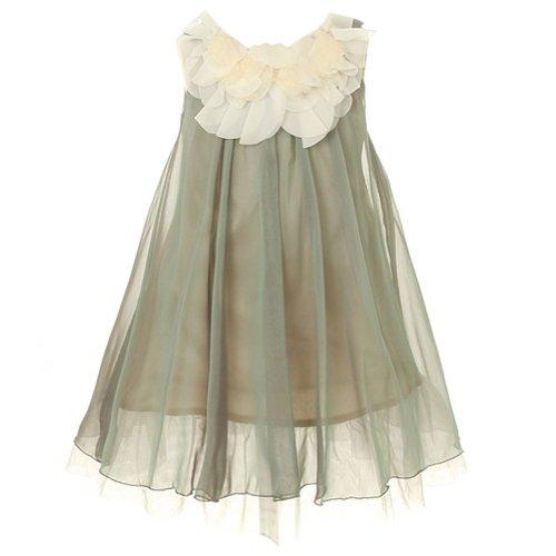 Chiffon Bodice (Kids Dream Girls 8 Sage Chiffon Floral Lace Bodice Easter Dress)