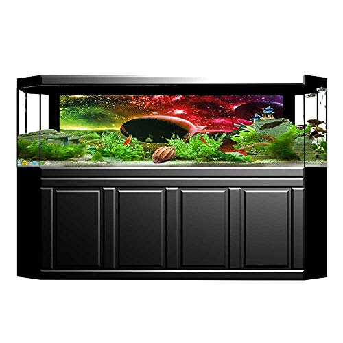 UHOO2018 Decorative Aquarium Universe Cosmos Galaxy Nebula Stars and Planets in Trippy Tones Image Magenta Green Aquarium Sticker Wallpaper Decoration 29.5