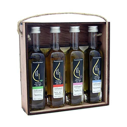 Dipping Gift - Pellas Nature | International Award Winner | Fresh Organic Infused Olive Oil Set | Finishing Oil | Basil | Garlic | Rosemary | Red Pepper | Wooden Gift Set | Single Origin Greek | 4 X 1.7oz Bottles