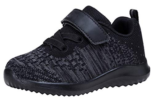 COODO Toddler/Little Kid Boys Girls Shoes Running Sports Sneakers (4 Toddler,All Black) (Childrens Running Shoes)