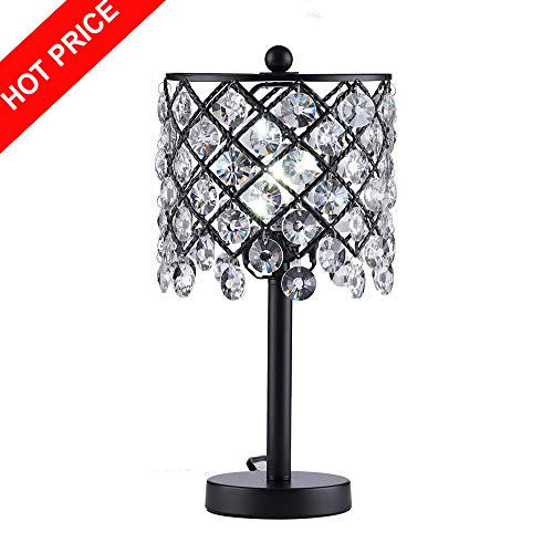 Mondaufie Modern Design Black Painted Base Round Crystal Shade Table Lamp,Bedside Table Desk Lamps for Bedroom,Living room,Office (Black Lamps Crystal And Table)