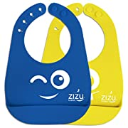 ZIZU BPA Free Waterproof Silicone Baby Bibs, Blue