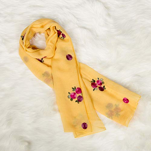 Red Scarf Embroidered Square Literary Scarf pc Long 1 Flower Artistic Linen Women Design Cotton CqOFxwv8H