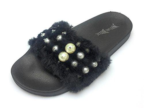 Pantofola Piatta Sfocata Per Le Donne - Vasca Da Bagno Casual Allaperto - Sandalo Rampicante Peloso - Perla Su Pelliccia Nera