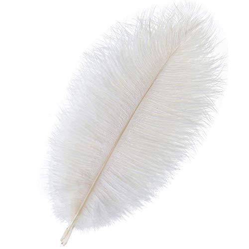 Plumas de avestruz de color blanco, 30 – 35 cm, plumas de avestruz, para centros de boda, casa, fiesta, mesa de comedor, jarron, botella, decoracion 30-35CM-White-10pcs