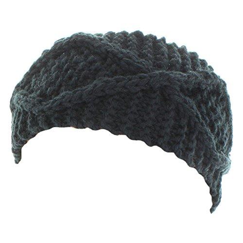 (Kate Marie 'Maya' Handcrafted X-Pattern Rib Beanie Headband in Black)