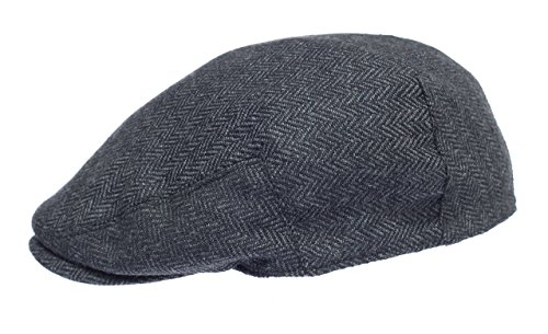 Newsboy Wool Blend Cap Paperboy Men Boy Gatsby Hipster Ivy Hat, Herringbone Grey ()