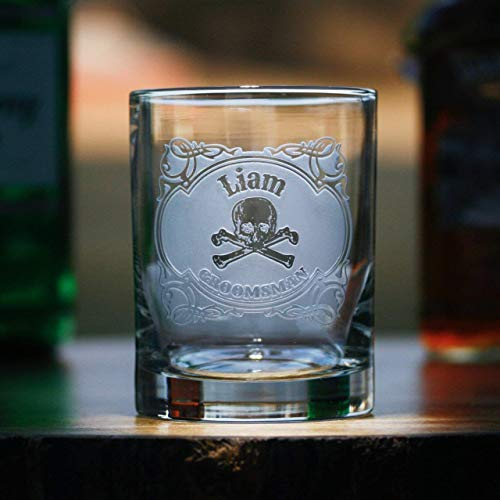 Skull and Cross Bones Groomsmen Whiskey Bourbon Rocks Glass, SET OF 4 by Crystal Imagery Engraved Glass Gifts