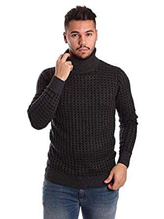 Antony Morato Mens Wool Blend Checkered Cable Knit Slim Turtleneck Sweater