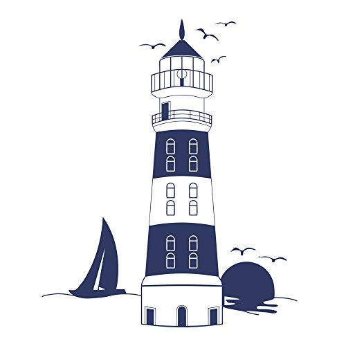 decalmile Blue Lighthouse Wall Stickers Sunset Seagull Sailboat Wall Decals Murals Peel and Stick Removable Vinyl Wall Art for Living Room Bedroom