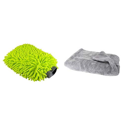 (Chemical Guys  MIC_493 Chenille Microfiber Premium Scratch-Free Wash Mitt and MIC_1995 Woolly Mammoth Microfiber Dryer Towel (25 in. x 36 in.))