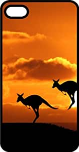 Australian Kangaroo Pair Hopping Into The Sunset Black Rubber Case for Apple iPhone 5 or iPhone 5s