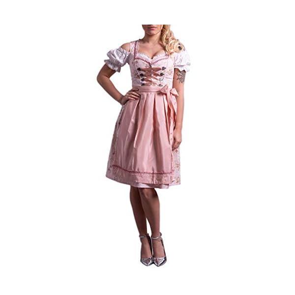 41 ntim LeL. SS600 - Golden Trachten-Kleid Dirndl Damen 3 TLG, Midi für Oktoberfest, mit Schürze und Bluse Rose feingeblümt 538GT