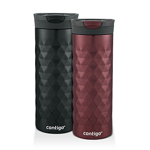 Contigo SnapSeal Kenton Travel Mugs, 20 oz, Black & Spiced Wine, 2-Pack