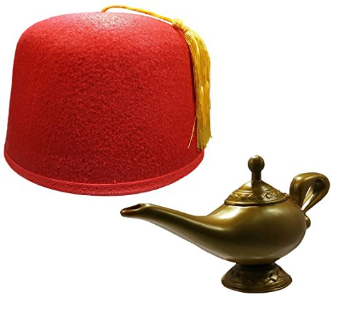 Red Fez Hat Cap And Genie Magic Wish Lamp Costume Set Kit (Magic Lamp Costume)