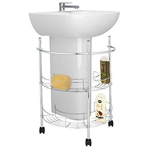 Top Rail Shelving (Pedestal Sink Rolling Organizer, Wrap-Around Storage with Rolling Casters and Towel Rail)