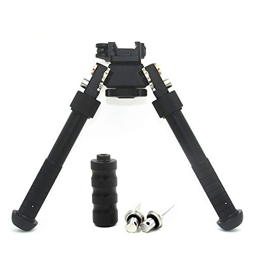 JINSE Bipod Picatinny Rail Quick Release Folding Swivel Adjustable 6.5-9 Inches with Spikes (Black)