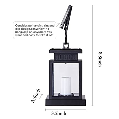 LivEditor Garden Solar Lanterns Outdoor Hanging Flickering Flameless Smokeless Solar Candles Outdoor Waterproof Decoration for Garden Patio Deck Yard Fence Driveway Lawn - 4 Pack