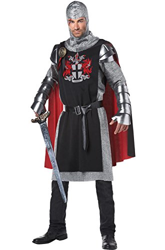 California Costumes Men's Renaissance Medieval Knight Ren Faire Costume, Black/Red, Large/X-Large (Renaissance Halloween Costume)