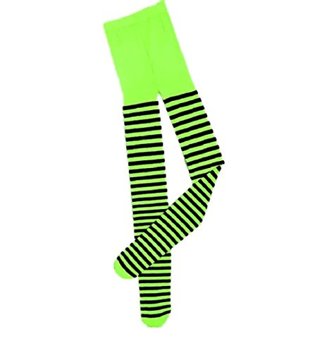 70's Dance Recital Costumes (Child Lime Green and Black Striped Tights Witch Pantyhose Costume Accessory)