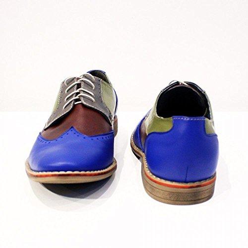 PeppeShoes Modello Bagheria - Handgemachtes Italienisch Leder Herren Bunt Wing Tip Schuhe Abendschuhe Oxfords - Rindsleder Weiches Leder - Schnüren