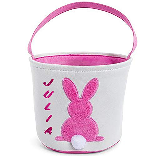 (Customized Easter Basket, with Pink Rabbit with Fuzzy Tail Custom Egg Hunt Tote Bag - Your Choice of Free Name- Gift,Kids,)