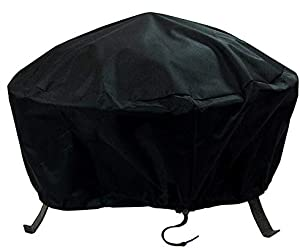 Sunnydaze Round Outdoor Fire Pit Cover - Weather Resistant Black Heavy Duty Vinyl PVC with Drawstring Closure - 60 Inch