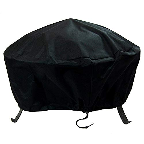 Sunnydaze Round Outdoor Fire Pit Cover - Waterproof and Weather Resistant Black Heavy Duty Vinyl PVC with Drawstring Closure - 36- Inch (Firepit With Cover)