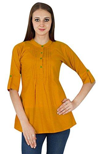 Dress Summer Wear Boho Jaune pour Ocre Tunique Vtements Solide Casual Top Twx8gd