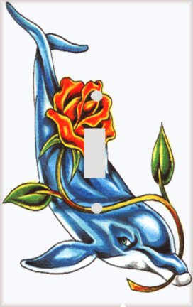 Dolphin with Rose Switchplate - Switch Plate Cover (Switchplate Dolphin)
