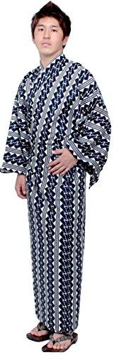 Kimono Japan Halloween Japanese Costume Men's Easy Yukata Robe XL Size White Chain Stripe]()