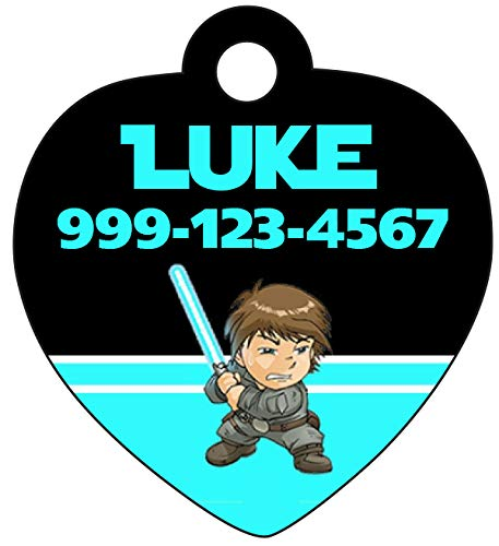 uDesignUSA Disney Star Wars Luke Skywalker Pet Id Tag for Dogs & Cats Personalized w/Name & Number -