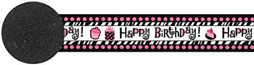 180175 30 Feet Paper TradeMart Inc Pink//Black Another Year of Fabulous Adult Birthday Party Crepe Streamer Decoration