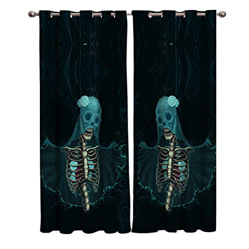 (BABE MAPS 2 Panel Set Blackout Curtains Halloween Skull Bride Darkening Window Curtain Thermal Insulated Grommet Drape Panels for Living Room and Bedroom)