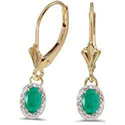 0.94 Carat (ctw) 10k Gold Oval Green Emerald and Diamond Halo Dangle Earrings with Lever Back (6 x 4 MM)