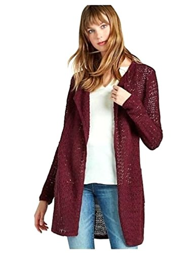 Boho-Chic Vacation & Fall Looks - Standard & Plus Size Styless - Lucky Brand Women's Port Red Carmen 3rd Piece Open Cardigan Sweater (X-Large)