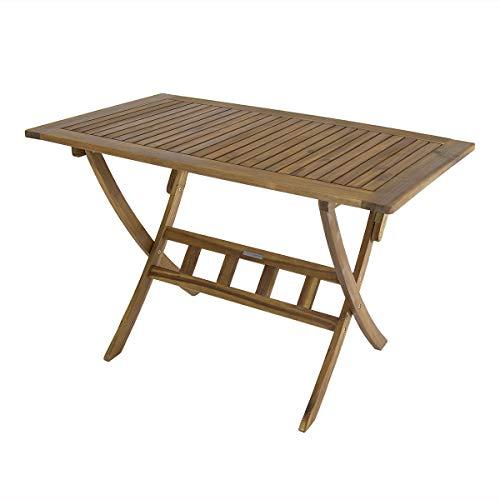 Bentley Garden - Mesa plegable de madera rectangular para jardin, 8kg, 120 x 70 x 74cm, Acacia, Marron